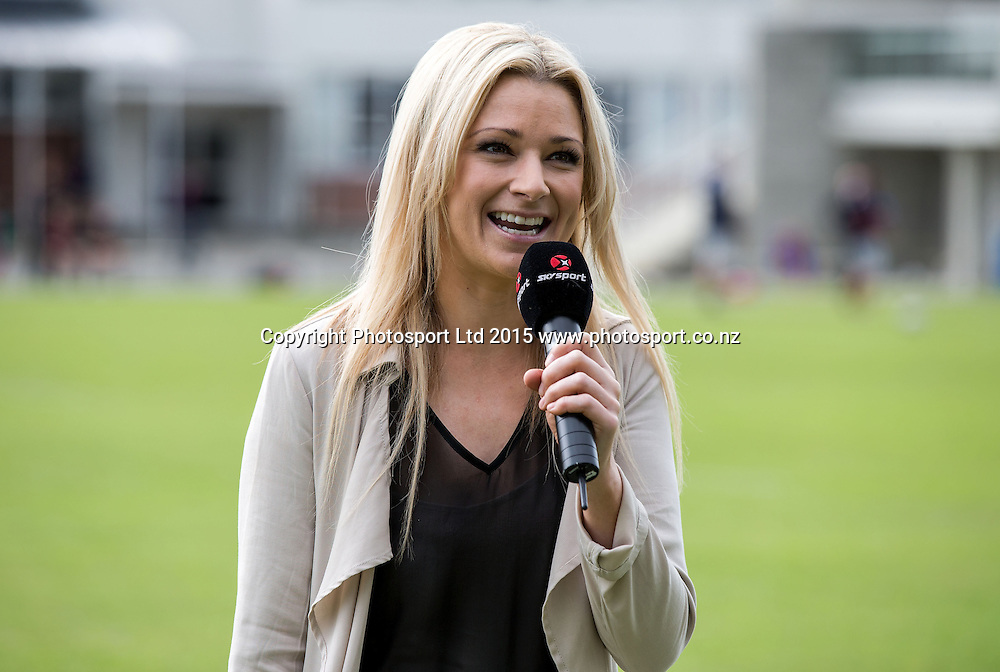 Erin Simpson, presenter of Sky`s Rugby Channel`s First XV coverage, Rosmini College, Takapuna, Auckland, New Zealand, Saturday, May 02, 2015. Copyright photo: David Rowland / www.photosport.co.nz