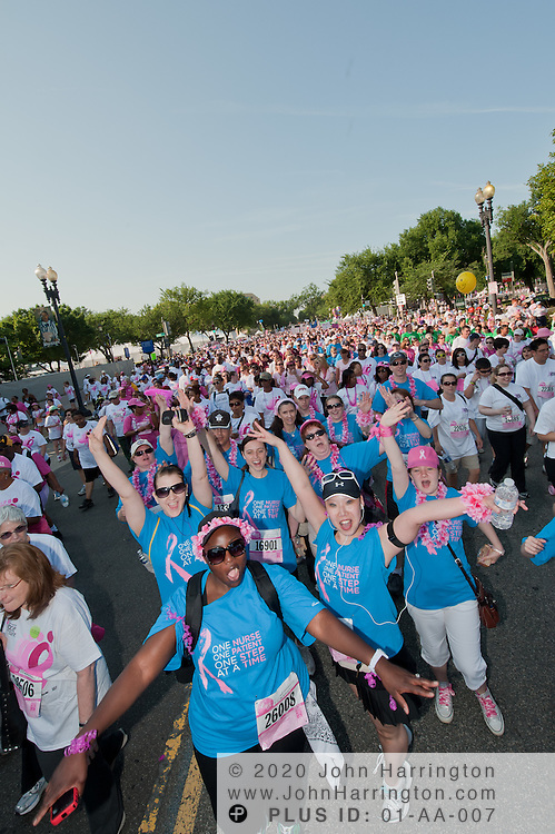 A group of 33 representatives from The Chamberlain College of Nursing in Arlington, VA, participating as walkers in the Susan G. Komen Race for the Cure join their fellow fundraisers at the start of the walk in Washington, DC on June 4th, 2011.