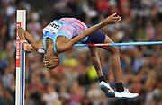 Mutaz Essa Barshim (QAT) wins the high jump at 7-8¾ (2.36m) during the Weltklasse Zurich in an IAAF Diamond League meeting at Letzigrund Stadium in Zurich, Switzerland on Thursday, August 24, 2017.   (Jiro Mochizuki/Image of Sport)