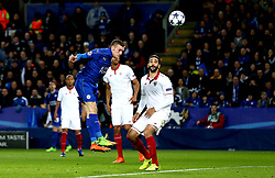 Jamie Vardy of Leicester City heads the ball towards goal - Mandatory by-line: Robbie Stephenson/JMP - 14/03/2017 - FOOTBALL - King Power Stadium - Leicester, England - Leicester City v Sevilla - UEFA Champions League round of 16, second leg