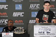 "ABU DHABI, UNITED ARAB EMIRATES, APRIL 7, 2010: Anderson Silva and Demian Maia is pictured during the pre-fight press conference for ""UFC 112: Invincible"" at the Rotana Hotel in Abu Dhabi on April 7, 2010. (Martin McNeil)"