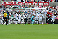Sunderland's Steven Fletcher (2nd right) scores his sides 2nd goal. Barclays Premier league, Swansea city v Sunderland at the Liberty Stadium in Swansea, South Wales on Saturday 1st Sept 2012. pic by Andrew Orchard, Andrew Orchard sports photography,
