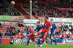 WREXHAM, WALES - Saturday, October 10, 2009: Wales' Ched Evans scores the opening goal during the UEFA Under-21 Championship Qualifying Round Group 3 match at the Racecourse Ground. (Pic by Chris Brunskill/Propaganda)