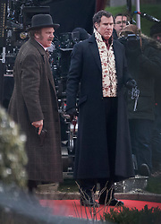 © Licensed to London News Pictures. 09/02/2017. London, UK. Actors Will Ferrell and John C. Reilly are seen with pistols as they film a new Sherlock Holmes movie 'Holmes and Watson' at Hampton Court. Photo credit: Peter Macdiarmid/LNP