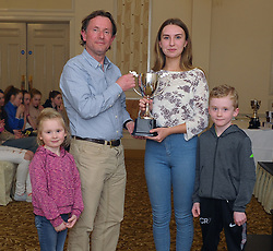 Westport Athletic Club Awards 2017<br />Ashling Halpin-Fahy presented the John Fahy memorial award to Fergus McAllister with help from her cousins Anna and Ryan Lyttle.<br />Pic Conor McKeown