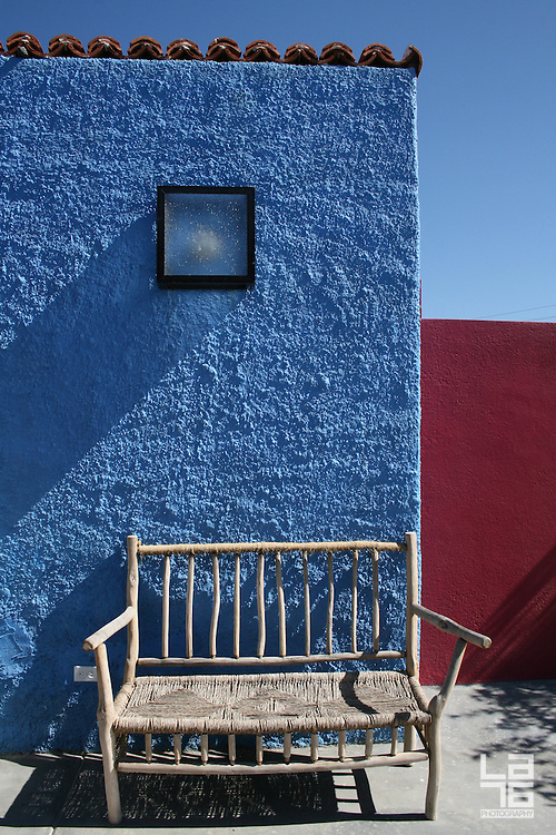 The Hotelito, a unique design boutique hotel in Todos Santos, Baja California Sur, Mexico.  We love it for their privacy, colored walls, because it's pet friendly, and for Mario's signature margaritas.