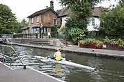 """Maidenhead, Berkshire.   """"The Great Thames Row"""".  TGTR 2016.  Lechlade to Gravesend, [165 Miles]. UK Charity Row on the River Thames by Naomi RICHES, MBE. passing through, Boulters Lock. Maidenhead. Sunday  18/09/2016<br /> [Mandatory Credit; Peter SPURRIER/Intersport Images]"""