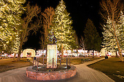 War veterans memorial at night in the town square, Jackson Hole, Wyoming USA