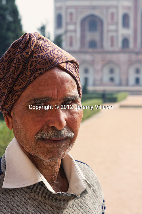 Portrait of a local man wearing a turban at Humayun's Tomb.