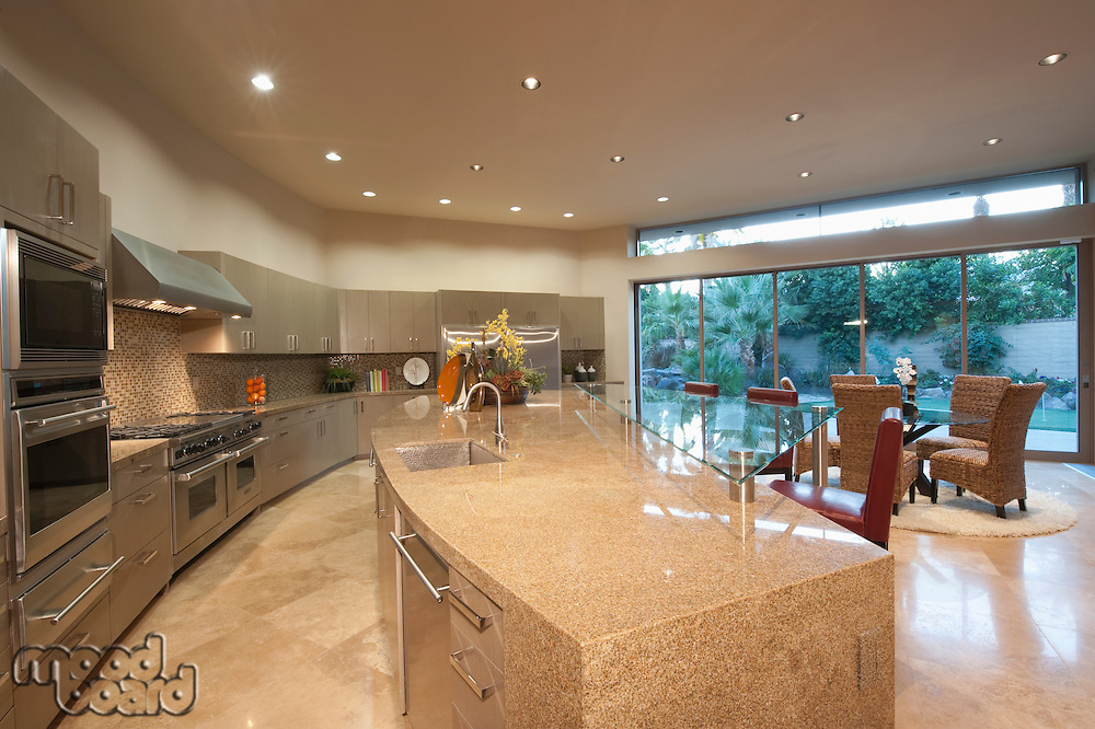 Architecturally designed kitchen with dining area