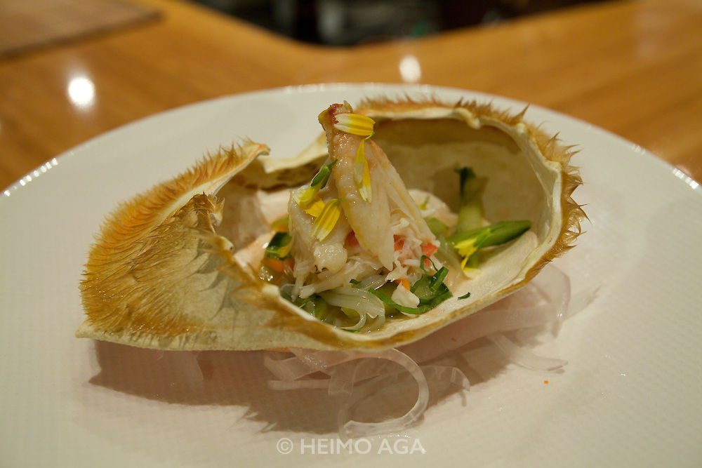 Tojo's Restaurant, possibly the best Japanese restaurant on this side of the Pacific. Dungeness Crab prepared by the legendary founder/owner/chef Hidekazu Tojo, during an Omakase (chef's recommendation) dinner for guests sitting at the sushi bar.