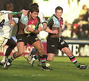 Parker Pen Challenge Cup 14/01/2004 Harlequins v Brive.1st leg...Quins's Pat Sanderson on the break, supported by Mel Deane [extreme right]   [Mandatory Credit, Peter Spurier/ Intersport Images].