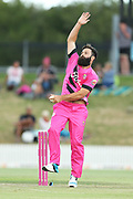 Knights Anton Devcich bowling during the Burger King Super Smash Twenty20 cricket match Knights v Stags played at Bay Oval, Mount Maunganui, New Zealand on Wednesday 27 December 2017.<br /> <br /> Copyright photo: &copy; Bruce Lim / www.photosport.nz