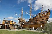 PUNTA ARENAS, CHILE - OCTOBER 28, 2013: Nao Victoria, Magellan's ship replica in Punta Arenas, Chile.