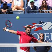 Stanislas Wawrinka, Switzerland, in action against Novak Djokovic, Serbia, during the Men's Singles Semi Final at the US Open. Flushing. New York, USA. 7th September 2013. Photo Tim Clayton