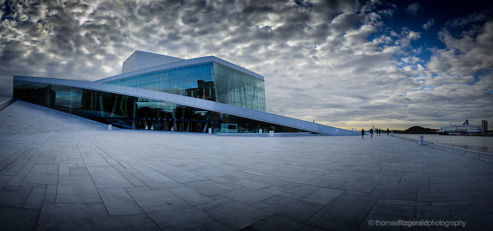 Oslo, Norway, October 2012: A panorama of the Oslo opera house and the plaza in front of it.EDITORIAL ONLY: This Image is only for Editorial Use
