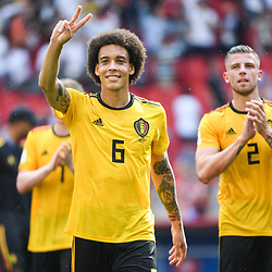 Alex Witsel and Toby Alderweireld of Belgium celebrate the victory during the FIFA World Cup Group G match between Belgium and Tunisia at Spartak Stadium on June 23, 2018 in Moscow, Russia. (Photo by Anthony Dibon/Icon Sport)
