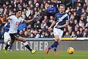 Derby County forward Nick Blackman strikes the ball during the Sky Bet Championship match between Derby County and Birmingham City at the iPro Stadium, Derby, England on 16 January 2016. Photo by Aaron Lupton.