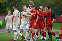 KIRKBY, ENGLAND - Saturday, August 31, 2019: Manchester United's Reece Devine pushes Liverpool's Layton Stewart after the Under-18 FA Premier League match between Liverpool FC and Manchester United at the Liverpool Academy. Liverpool won 4-3. (Pic by David Rawcliffe/Propaganda)