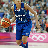 11 August 2012: France Edwige Lawson-Wade brings the ball upcourt during 86-50 Team USA victory over Team France, during the Women's Gold Medal Game, at the North Greenwich Arena, in London, Great Britain.