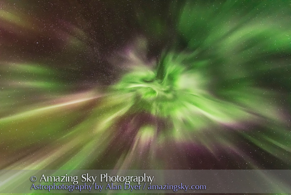 The aurora display of September 27, 2017 from home in southern Alberta, in a view looking straight up to the zenith, toward converging curtains and flaming patches. The pinks are from lower altitude nitrogen molecules.<br /> <br /> This is a single exposure as part of a 300-frame time-lapse, of 2 seconds at f/1.8 with the Sigma 14mm Art lens, and Nikon D750 at ISO 6400.