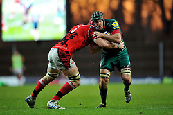 Julian Salvi of Leicester Tigers is tackled - Photo mandatory by-line: Patrick Khachfe/JMP - Mobile: 07966 386802 23/11/2014 - SPORT - RUGBY UNION - Oxford - Kassam Stadium - London Welsh v Leicester Tigers - Aviva Premiership