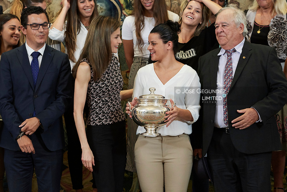 Queen Letizia of Spain attends an audience to a representation of Remudas Handball Club Gran Canaria Island at Zarzuela Palace on June 8, 2017 in Madrid
