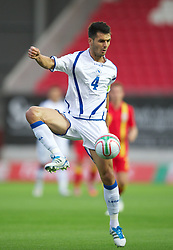 LLANELLI, WALES - Wednesday, August 15, 2012: Bosnia-Herzegovina's captain Emir Spahic in action against Wales during the international friendly match at Parc y Scarlets. (Pic by David Rawcliffe/Propaganda)