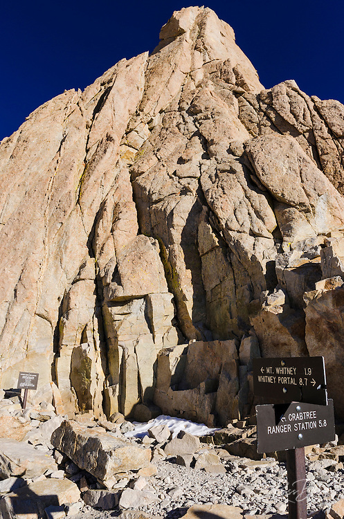 Trail signs on the Mount Whitney trail, Sequoia National Park, Sierra Nevada Mountains, California USA
