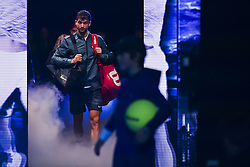 November 13, 2017 - London, United Kingdom - Grigor Dimitrov of Bulgaria enters the court before his Singles match against Dominic Thiem of Austria during day two of the Nitto ATP World Tour Finals at O2 Arena, London on November 13, 2017. (Credit Image: © Alberto Pezzali/NurPhoto via ZUMA Press)