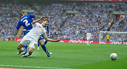 LONDON, ENGLAND - Saturday, May 30, 2011: Swansea City's Fabio Borini is brought down by Reading's Andy Griffin for a second penalty leading to the fourth goal during the Football League Championship Play-Off Final match at Wembley Stadium. (Photo by David Rawcliffe/Propaganda)