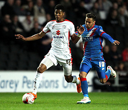 Milton Keynes Dons' Jordan Spence takes on Doncaster Rovers's Harry Forrester - Photo mandatory by-line: Robbie Stephenson/JMP - Mobile: 07966 386802 - 21/04/2015 - SPORT - Football - Milton Keynes - Stadium:mk - Milton Keynes Dons v Doncaster Rovers - Sky Bet League One