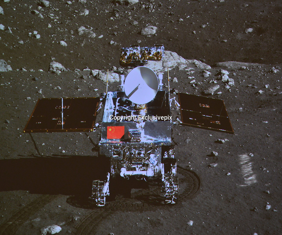 "BEIJING, CHINA - China Out - Finland Out<br /> <br /> China's Moon Rover Yutu Separates From Lander<br /> <br /> Screen shows the photo of the Yutu, or ""Jade Rabbit"" moon rover taken by the camera on the Change-3 moon lander during the mutual-photograph process, at the Beijing Aerospace Control Centre in Beijing, China. The moon rover and the moon lander took photos of each other Sunday night, marking the complete success of the Change-3 lunar probe mission. <br /> ©Exclusivepix"