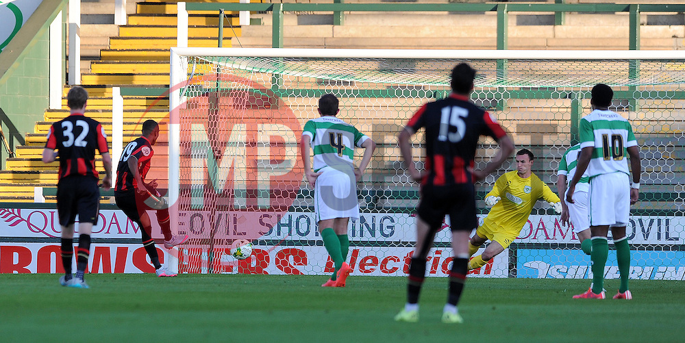 Bournemouth's Junior Stanislas scores from a penalty - Photo mandatory by-line: Harry Trump/JMP - Mobile: 07966 386802 - 28/07/15 - SPORT - FOOTBALL - Pre Season Fixture - Yeovil Town v Bournemouth - Huish Park, Yeovil, England.