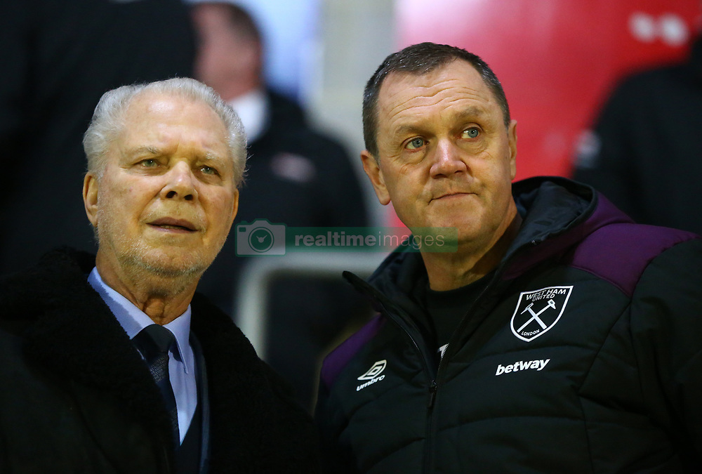 March 21, 2018 - Dagenham, England, United Kingdom - L-R West Ham Chairman David Gold and Terry Westley manager of West Ham United Under 23s.during Friendly match between Dagenham and Redbridge against West Ham United at Chigwell Construction  stadium, Dagenham England on 21 March 2018. (Credit Image: © Kieran Galvin/NurPhoto via ZUMA Press)