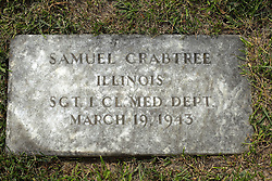 31 August 2017:   Veterans graves in Park Hill Cemetery in eastern McLean County.<br /> <br /> Samuel Crabtree  Illinois Sergeant 1 CL MED DEPT March 19 1943
