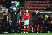 Substitution - Timi Elsnik (19) of Swindon Town replaces Scott Twine (27) of Swindon Town during the EFL Sky Bet League 2 match between Swindon Town and Yeovil Town at the County Ground, Swindon, England on 10 April 2018. Picture by Graham Hunt.