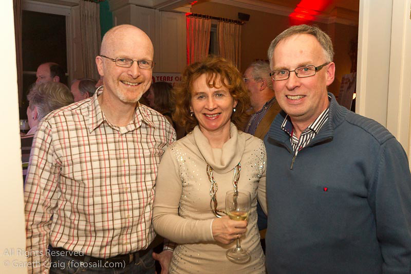 (l to r) Matt Treadwell, Maureen O'Leary, and Owen Sinnott at the reunion night to celebrate 50 years of the Irish Fireball Class, held at the Royal St George YC.