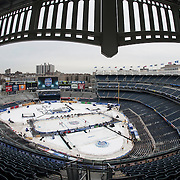 January 25, 2014:  A general view of Yankee Stadium set up with an ice hockey rink during practice for The Stadium Series game between The New York Rangers and The New Jersey Devils at Yankee Stadium in The Bronx, New York . (Credit Image: © Kostas Lymperopoulos/Cal Sport Media)
