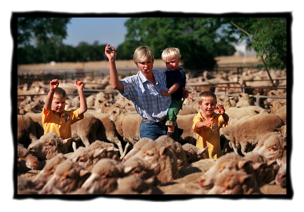 csz981121.001.005.jpg..Farmer Lu Hogan with her kids Angus 8, Hugh 3 and Max 6, pic by craig sillitoe, news melbourne photographers, commercial photographers, industrial photographers, corporate photographer, architectural photographers, This photograph can be used for non commercial uses with attribution. Credit: Craig Sillitoe Photography / http://www.csillitoe.com<br />