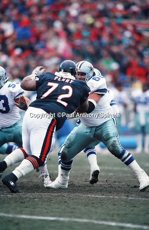 "Dallas Cowboys offensive lineman Kevin Gogan (66) blocks Chicago Bears defensive tackle William ""Refrigerator"" Perry (72) during the NFL NFC Wild Card playoff football game against the Chicago Bears on Dec. 29, 1991 in Chicago. The Cowboys won the game 17-13. (©Paul Anthony Spinelli)"