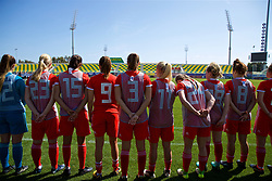 LARNACA, CYPRUS - Wednesday, March 7, 2018: Wales substitutes before the Cyprus Women's Cup match between Austria and Wales on day nine of the Cyprus Cup tournament at the AEK Arena - Georgios Karapatakis. (Pic by David Rawcliffe/Propaganda)