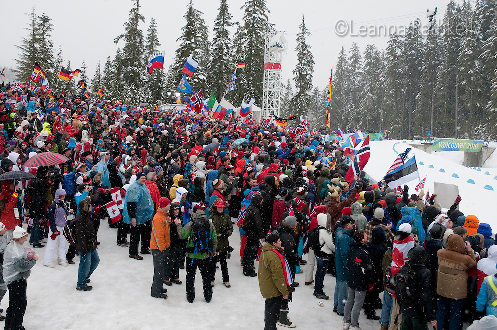 Fans brave all kinds of weather to cheer on their countries' athletes during the 2010 Olympic Winter Games in Whistler, BC Canada