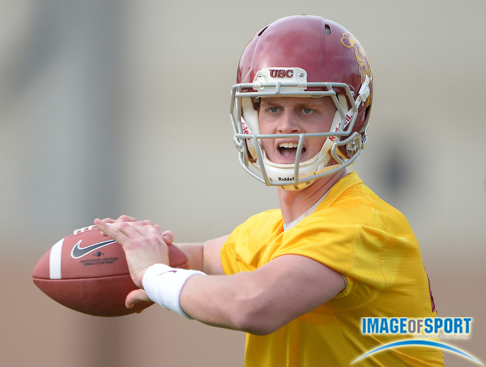 Mar 11, 2014; Los Angeles, CA, USA; Southern California Trojans quarterback Max Browne (4) throws a pass during spring practice at Howard Jones Field.