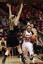 04 November 2015: Shakeela Fowler(22) looks to get past Cece Rapp(34) and into the paint. Illinois State University Women's Basketball team hosted The Lions from Lindenwood for an exhibition game at Redbird Arena in Normal Illinois.