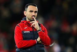 Swansea City caretaker manager Leon Britton reacts - Mandatory by-line: Matt McNulty/JMP - 26/12/2017 - FOOTBALL - Anfield - Liverpool, England - Liverpool v Swansea City - Premier League