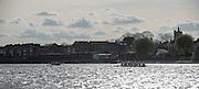 London, Great Britain, left Oxford, as Both Crews passing Chiswick Eyot, during The Newton Women's Boat Race, Men's Race , Championship Course.  River Thames. Putney to Mortlake. ENGLAND. <br /> <br /> 17:01:02  Saturday  11/04/2015<br /> <br /> [Mandatory Credit; Peter Spurrier/Intersport-images]<br /> <br /> OUWBC Crew: <br /> Maxie SCHESKE, Anastasia CHITTY, Shelley PEARSON, Lauren KEDAR, Maddy BADCOTT, Emily REYNOLDS, Nadine GRAEDEL IBERG, Caryn DAVIES and Cox Jennifer EHR                                       CUWBC, Fanny BELAIS, Ashton BROWN, Caroline REID, Clare WATKINS, Melissa WILSON, Holly HILL, Daphne MARTSCHENKO,Hannah EVANS, Cox Rosemary OSTFELD