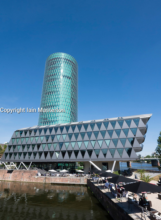 Modern office building in the Westhafen  upmarket residential and business property development in Frankfurt Germany