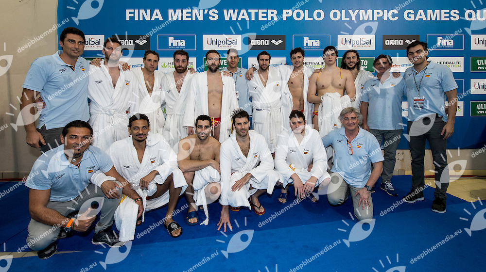 Team Spain qualified for Olympic<br /> FINA Men's Water polo Olympic Games Qualifications Tournament 2016<br /> Final 3rd place<br /> France FRA (White) Vs Spain ESP (Blue)<br /> Trieste, Italy - Swimming Pool Bruno Bianchi<br /> Day 08  10-04-2016<br /> Photo G.Scala/Insidefoto/Deepbluemedia