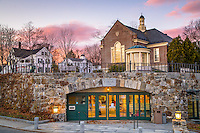 A quiet evening at Camden Public Library, well known for its stunning location at the head of Camden Harbor as well as its beautiful architecture.
